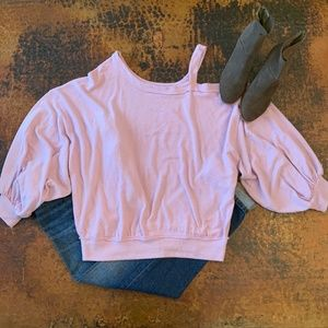 NWT Free People Purple Flaunt It Cold Shoulder Tee